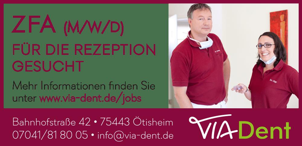 VIA-Dent Stellenanzeige ZFA Rezeption